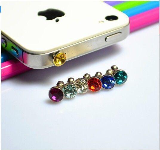 10ピースダイヤモンドダストプラグ用htc用サムスンギャラクシーs6用iphone 6プラス5 s 4 s 5 6ダストプラグ3.5ミリメートルイヤホン電話アクセサリー