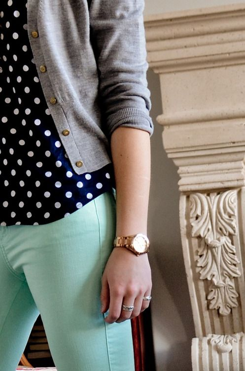 mint jeans and polka dot blouse