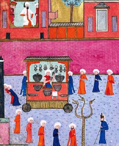 : Sherbet Makers (Şerbetçiler), from Surnâme-i Hümayun, Topkapi Palace Museum Library, MS H. 1344, folio 238a.
