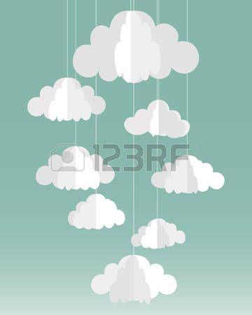 Nubes de papel ilustraci n Foto de archivo