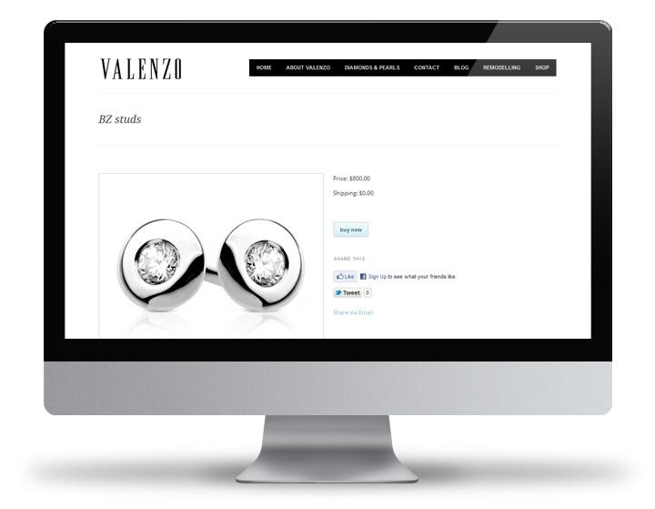 Valenzo Jewels Ecommerce wordpress design