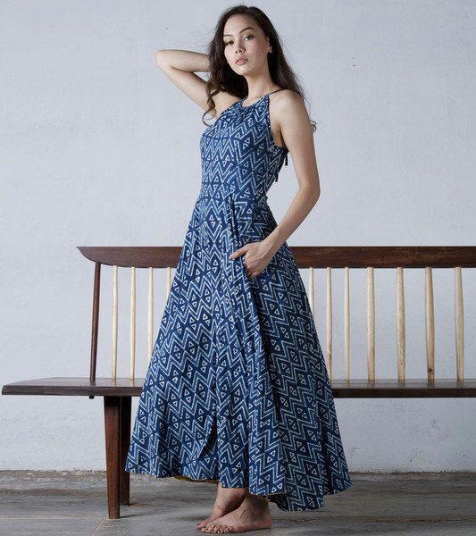 Indigo block-printed racer back gown by KharaKapas on Etsy
