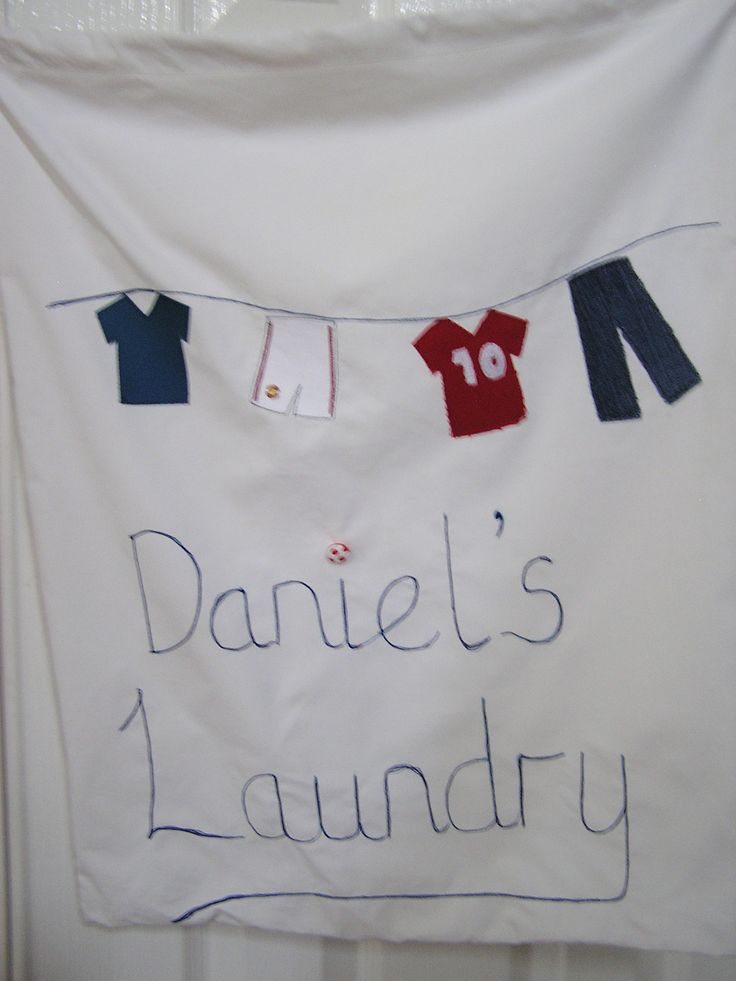 Drawstring laundry bag for my son to hang on her bedroom door. Included his beloved Manchester united kit on the washing line!