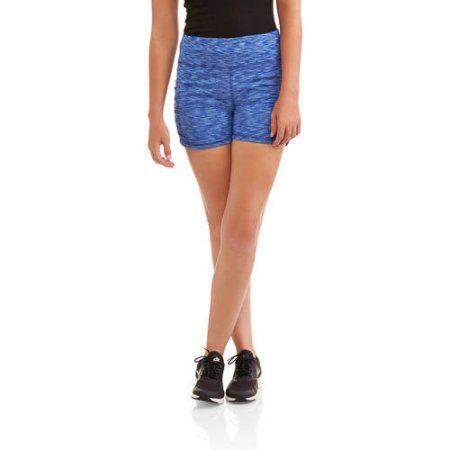Women's Active Ruched Side Spacedye Performance Bike Short, Size: Medium, Blue