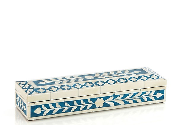 One Kings Lane - Worldly Goods - Bone Inlay Box, Blue: Inlay Boxes, Bones Inlay, Blue Accessories, Accessories Idea, Onekingslane Com 79, King Lane, Mystic Flower