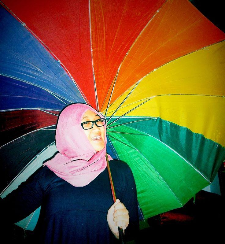 #Hijab with rainbow umbrella