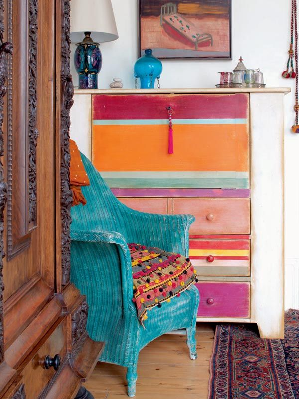 multi colored painted furniture. eclectic home designed by jenny foley and featured in period living magazine multi colored painted furniture