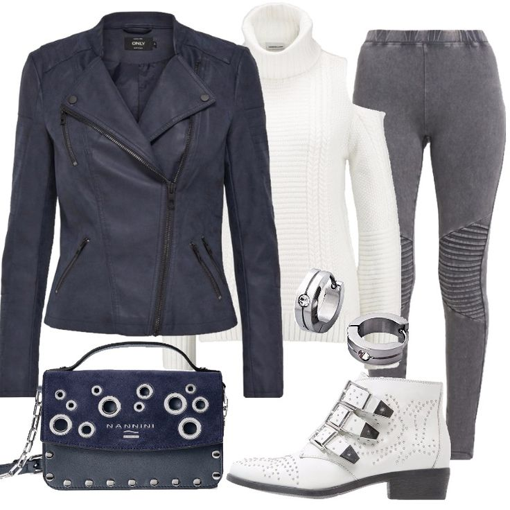 Un outfit easy, disinvolto che strizza l'occhio allo stile rock, adatto per trascorrere una serata con gli amici. Giacca in finta pelle blue, colletto a bavero, zip, multitasche, abbinata a leggings darkgrey vita alta. Maglione snow white, collo alto, spalle scoperte, stivaletto texano/ biker offwhite, punta tonda, tacco largo, borchie, fibbie, zip; borsa a mano blu, tracolla in metallo, applicazione di borchie, orecchini a cerchio.