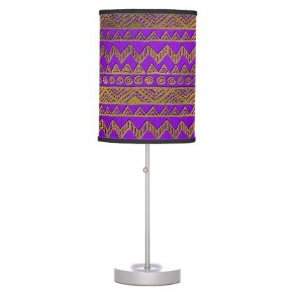 #home #lamps #decor - #Ethnic  Golden Pattern  Swirl on Purple Leather Desk Lamp