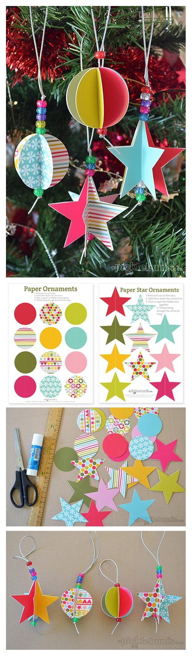 Star & circle paper decorations. Fre to download from Picklebums