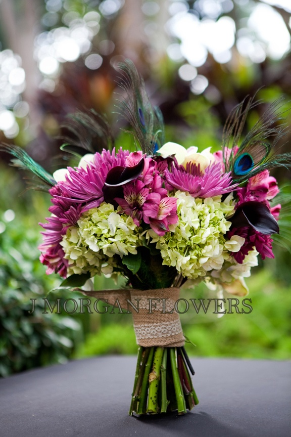 Peacock Feathers Vintage Details Fire Engine Firemen Libary Wedding Purple Flowers