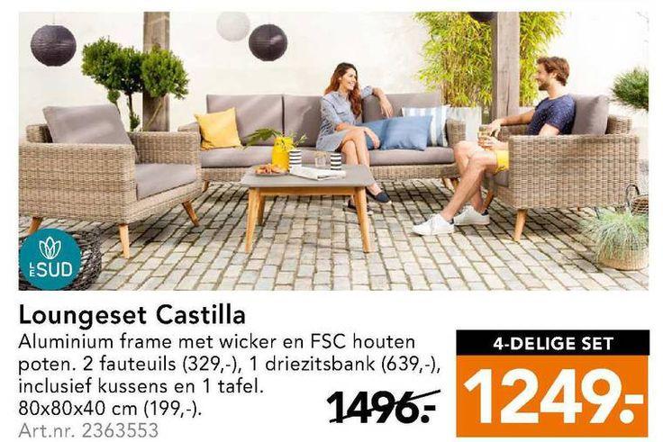 le sud loungeset castilla aluminium frame wicker fsc houten 2 fauteuils 1 driezitsbank kussens cm 4-delige  folder aanbieding bij Blokker