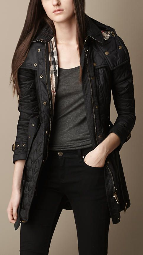 Burberry Diamond Quilted Coat in Black