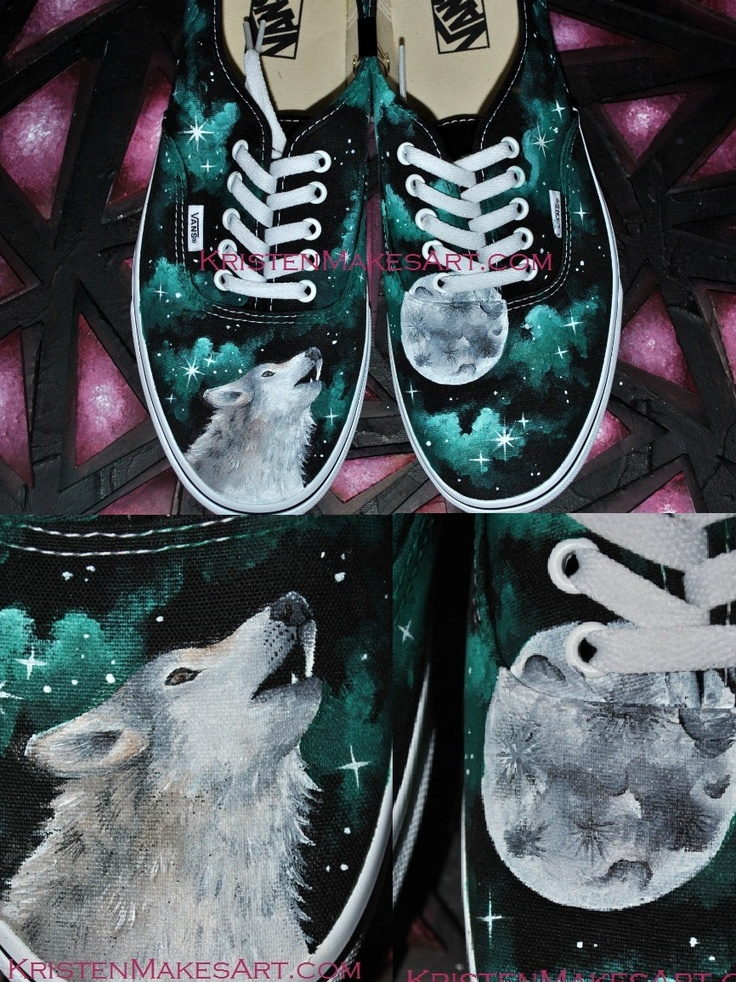 Wolf and Moon Galaxy shoes - by KristenMakesArt on Etsy!
