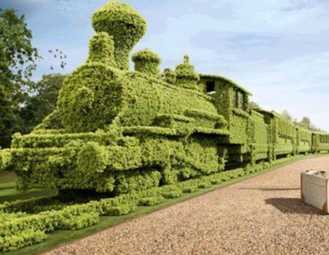 Go green train sculpture
