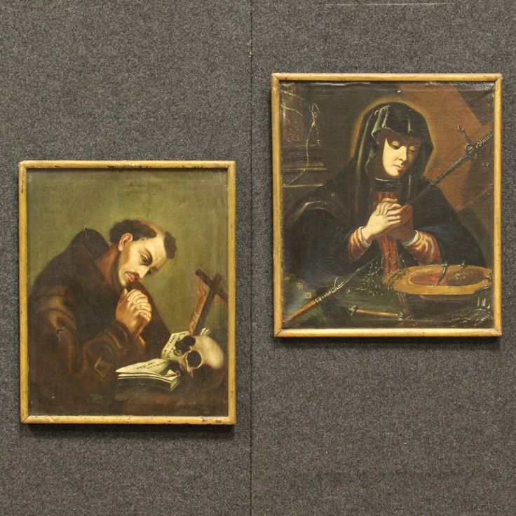 "Price: 1200€ Ancient pair of French paintings of the 18th century. Works oil on canvas depicting the subject of sacred art ""Madonna"" and ""St. Francis"". Paintings fitted with wooden frames of the 19th century. Works rich in details of great intensity in the first canvas. They present different signs of aging, small tears and holes (see photo). Given the times, on the whole in a fair state of conservation. #antiques #antiquariato Visit our website www.parino.it"