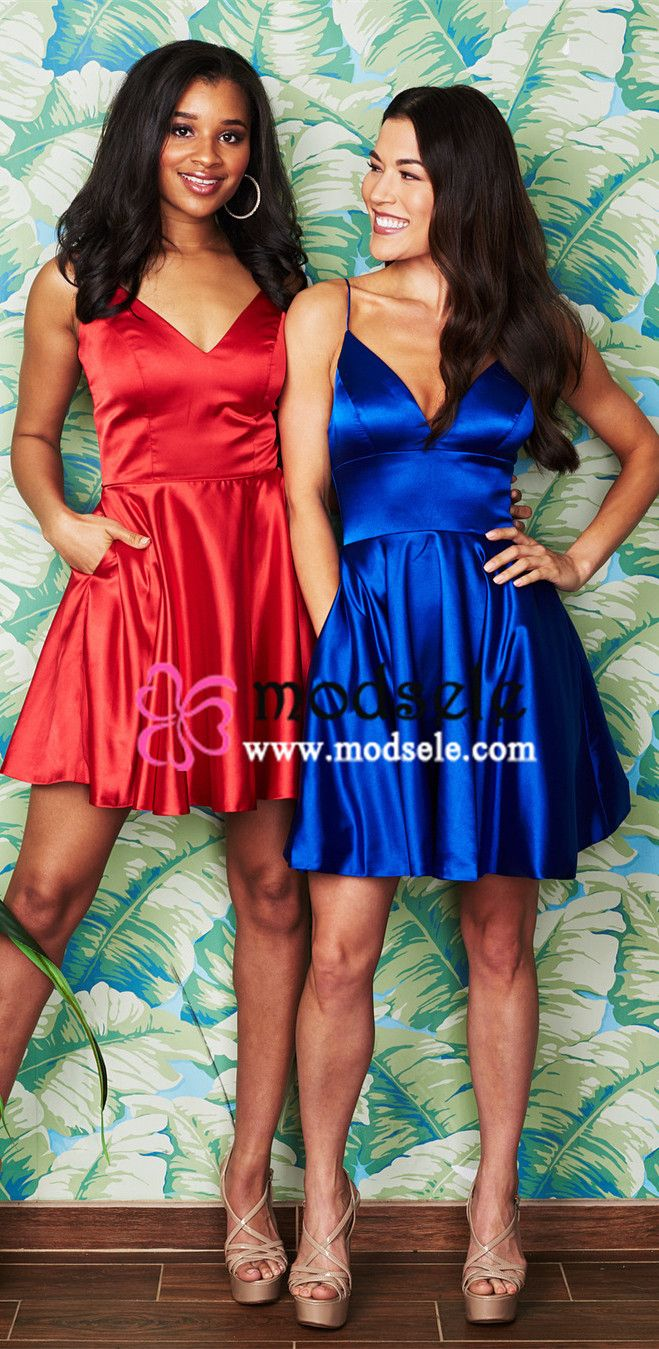 Cute straps v neck short red party dress with pockets from modsele