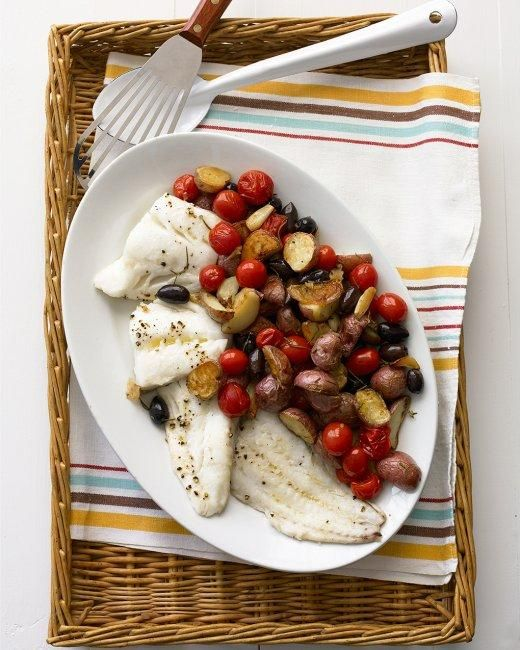 Roasted Cod with Potatoes and Olives Recipe: Kalamata Olives, Everyday Food, Fish Recipes, Dinners Recipes, Potatoes, Martha Stewart, Seafood Dinners, Roasted Cod, Suppers Recipes