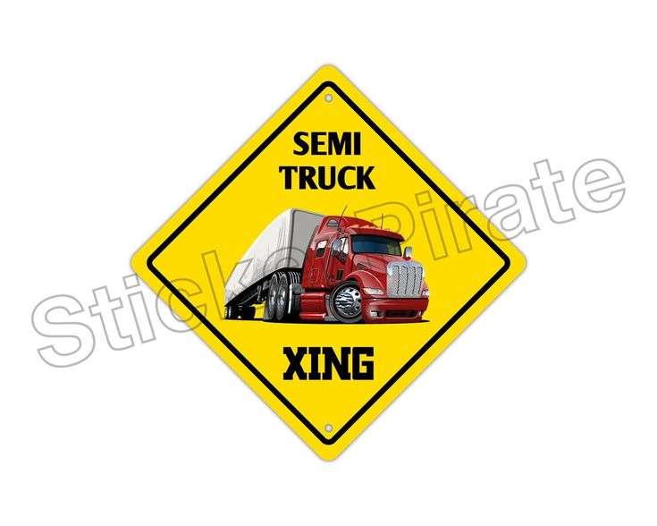 "Aluminum Semi Truck Crossing Funny Metal Novelty Sign 12""X12"""
