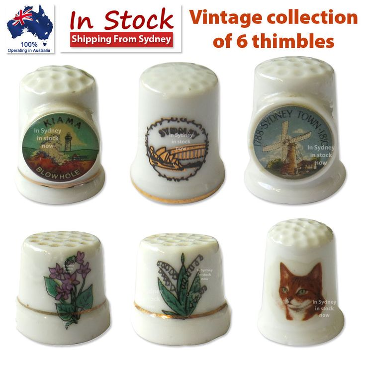 Vintage collection of 6 thimbles Lot #2