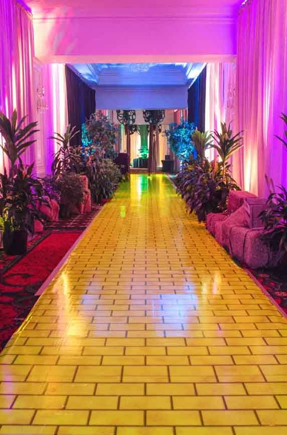 """We produced a custom print vinyl with a """"yellow brick road"""" theme for a Wizard of Oz themed party."""