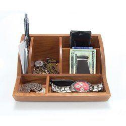 "Storus Smart Valet Tray Desktop Organizer Stores Accessories Oak Wood 8"" x 3.5"" x 5.25"" 18oz."