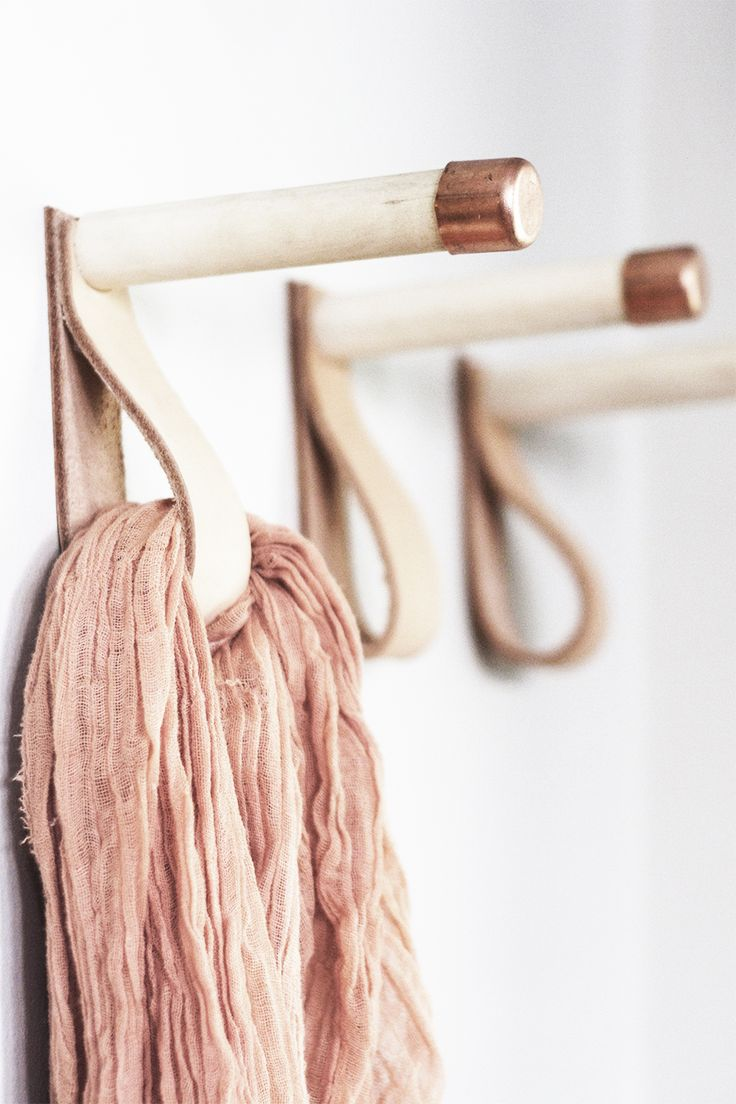DIY Leather, Wood and Copper Coat Hooks