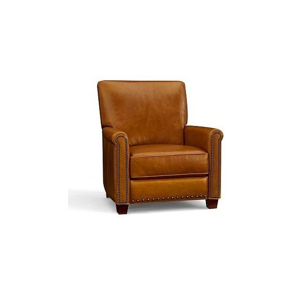 Pottery Barn Irving Leather Recliner, Bronze Nailheads, Polyester... ($1,349) ❤ liked on Polyvore featuring home, furniture, chairs, recliners, bourbon, leather furniture, colored leather chairs, leather recliner, poly furniture and leather club chair