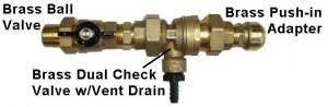 Basepump EZ & PRO with backflow preventer and installation parts. » Basement Flood Prevention