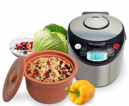 VitaClay VM7900-8 Smart Organic Multi-Cooker-Rice Cooker, Brushed Stainless Steel and Black