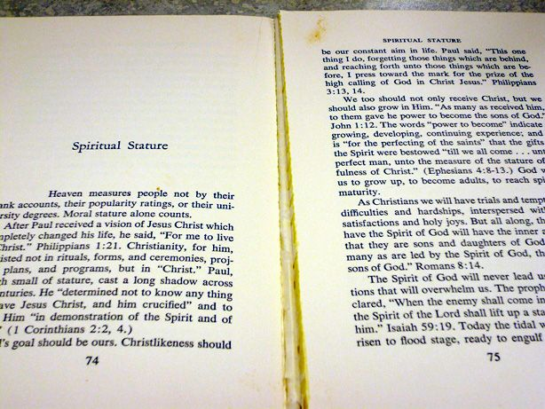 """How To Repair a Paperback Book - Small bead of glue down the """"missing page"""" crack."""
