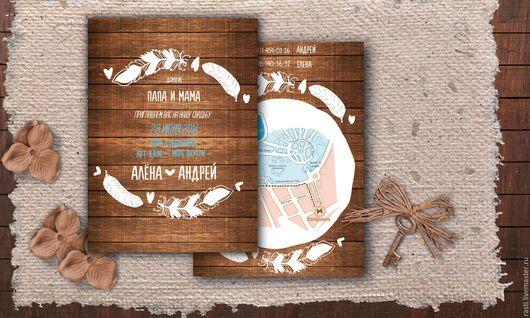 Свадебные открытки ручной работы. Ярмарка Мастеров - ручная работа. Купить Приглашения Рустик. Handmade. Свадьба в стиле рустик
