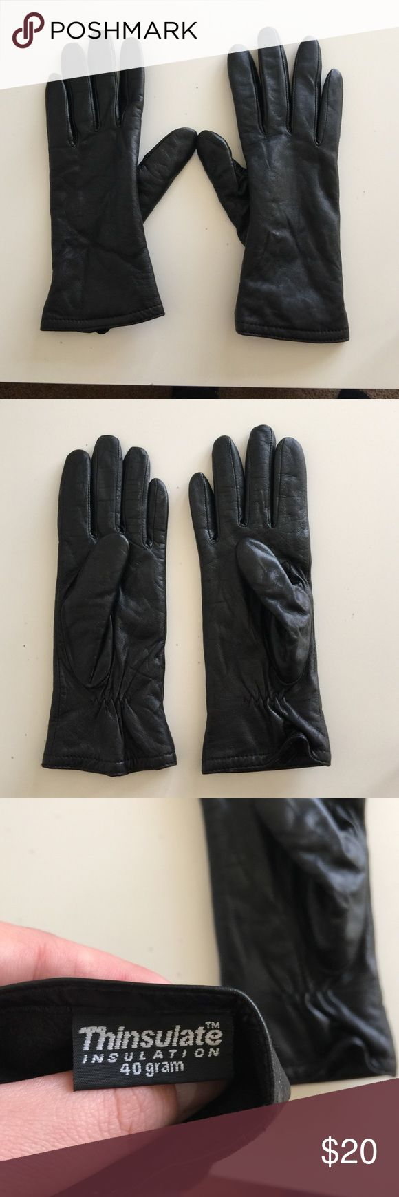 Black leather gloves small - Small 100 Black Leather Insulated Gloves 100 Leather Gloves Black Very Soft On