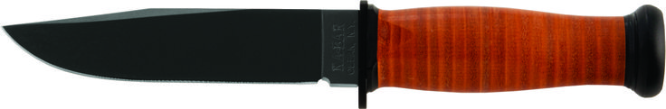 """KA-BAR 2225 USN Original military issue designed MARK 1 offers a compressed leather disc handle for rugged grip and control. The knife has an epoxy powder coated, high carbon (1095) steel blade with a [HRC 56-58] hardness rating. The 5 1/8"""" straight edge blade has been flat ground sharpened to 20 / 20 degrees with buff polished edges for better edge retention.  The overall length of this knife is 9 3/16"""", the perfect size for this easy carry fighting utility knife. www.tomarskabars.com"""