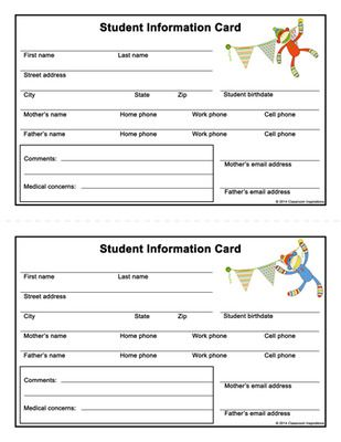 Student Information Card – FREEBIE - Coordinates with Sock Monkey Classroom Theme from Classroom Inspirations on TeachersNotebook.com -  (3 pages)  - Student Information Cards Coordinate perfectly with our Sock Monkey Classroom Theme.  All the student information you need will be right at your fingertips!