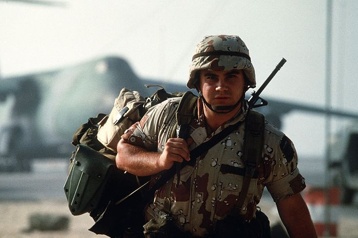 An American soldier arrives in Saudi Arabia during Operation Desert Shield in 1992