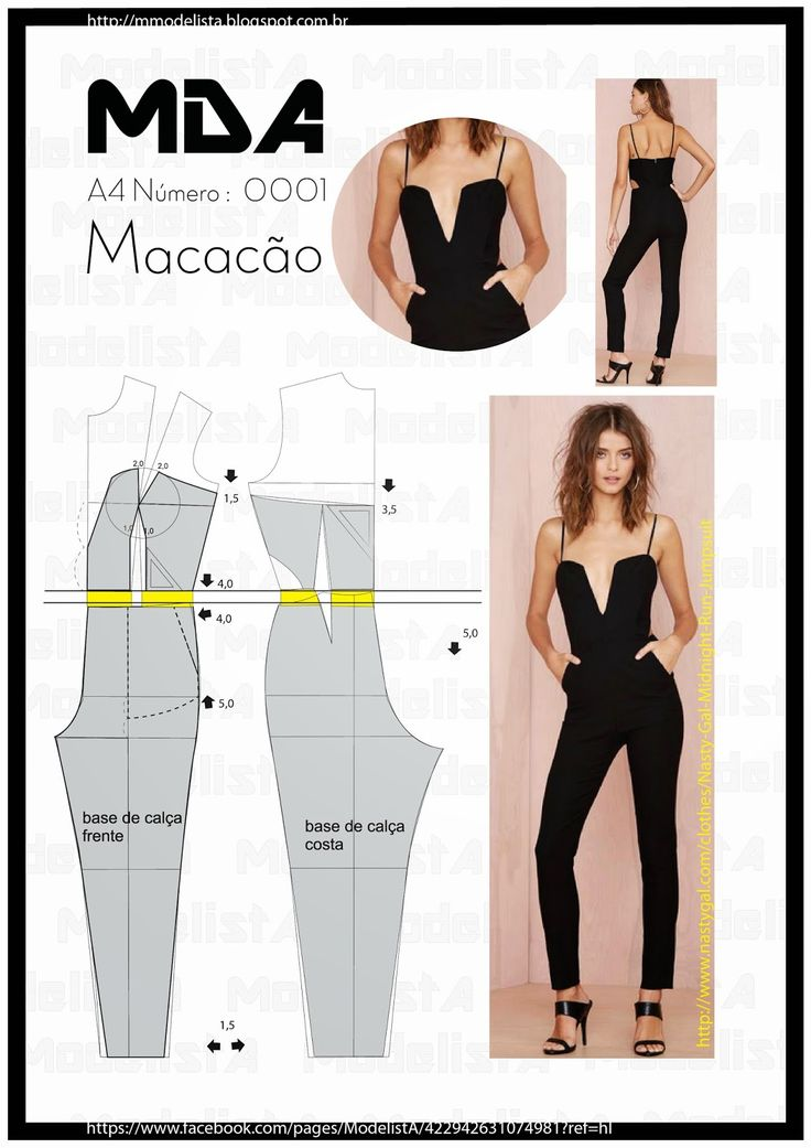 Black jumpsuit , pattern instructions