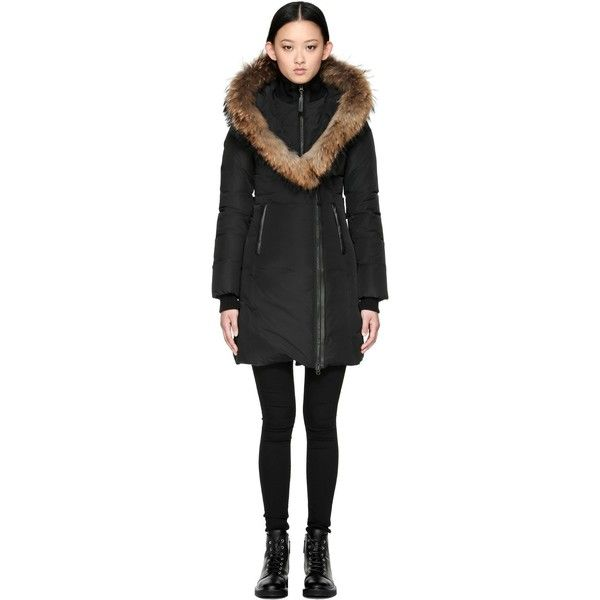 Mackage Mackage | Kay Mid Length Winter Down Coat ($680) via Polyvore featuring outerwear, coats, army coat, collar coat, stand collar coat, hooded down coat and down coat