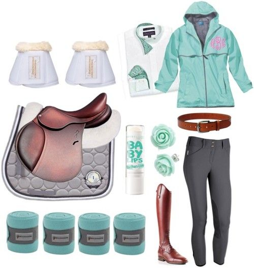 Mint Schooling Outfit by e-q-u-i-t-a-t-e featuring a blue hooded cape Blue hooded cape / Retro earrings / Heavyweight Stitched Belt Golden / Antares Pony Jumping Saddle / The Tailored Sportsman Trophy Hunter Front Zip / Matrix Traditional Half Pad AP / Essex Classics Wrap Collar Ladies Show Shirt Whites, SALE! / Schockemohle Neoprene