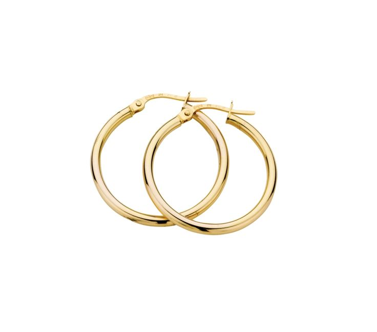 9ct Yellow Gold Hoop Earrings 2/20mm, Earrings, SJ0650
