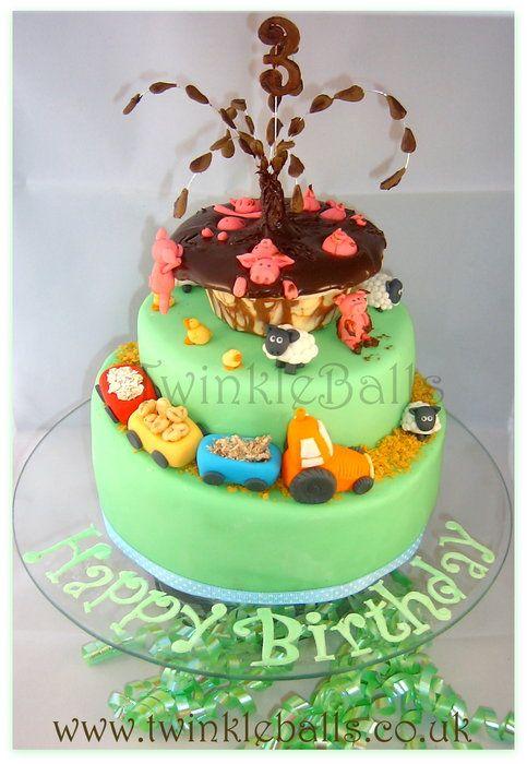 A 3rd birthday farm cake