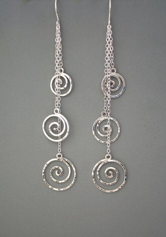 Sterling silver spiral long dangle earrings by rachelwilder