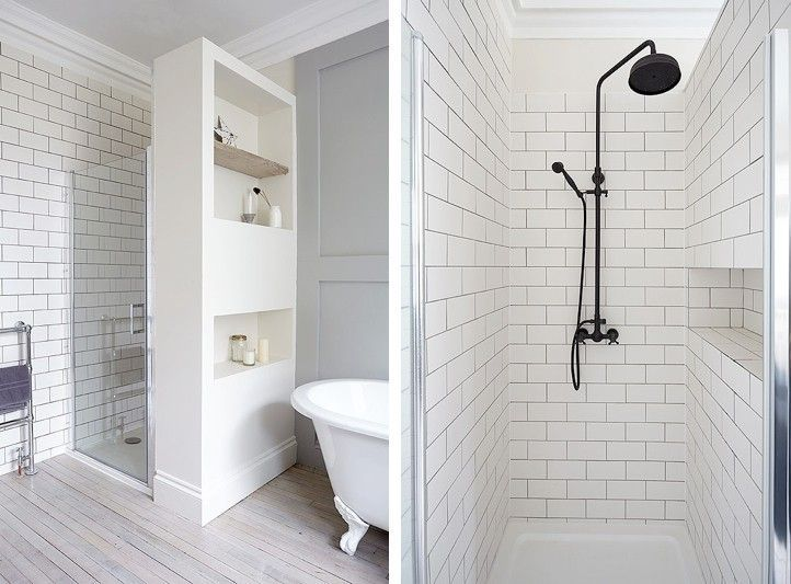 London Victorian, Clawfoot Tub, White Tiled Shower