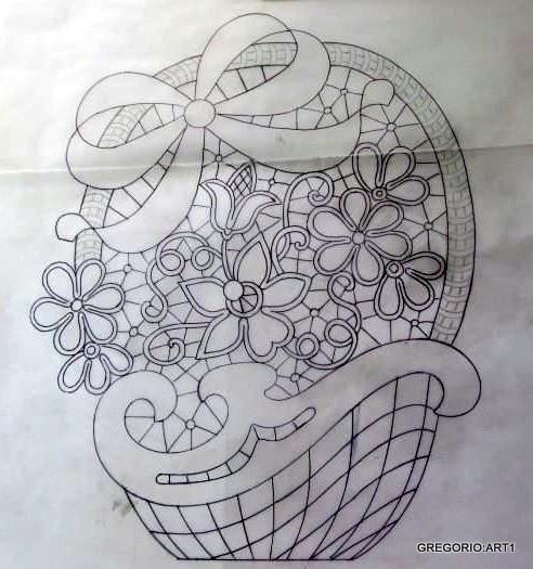 MACRAME' RUMENO - POINT LACE : CESTINI (disegni)