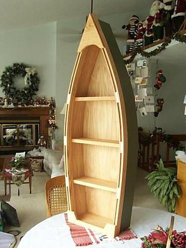 4 foot unfinished row boat shelf bookcase bookshelf by PoppasBoats