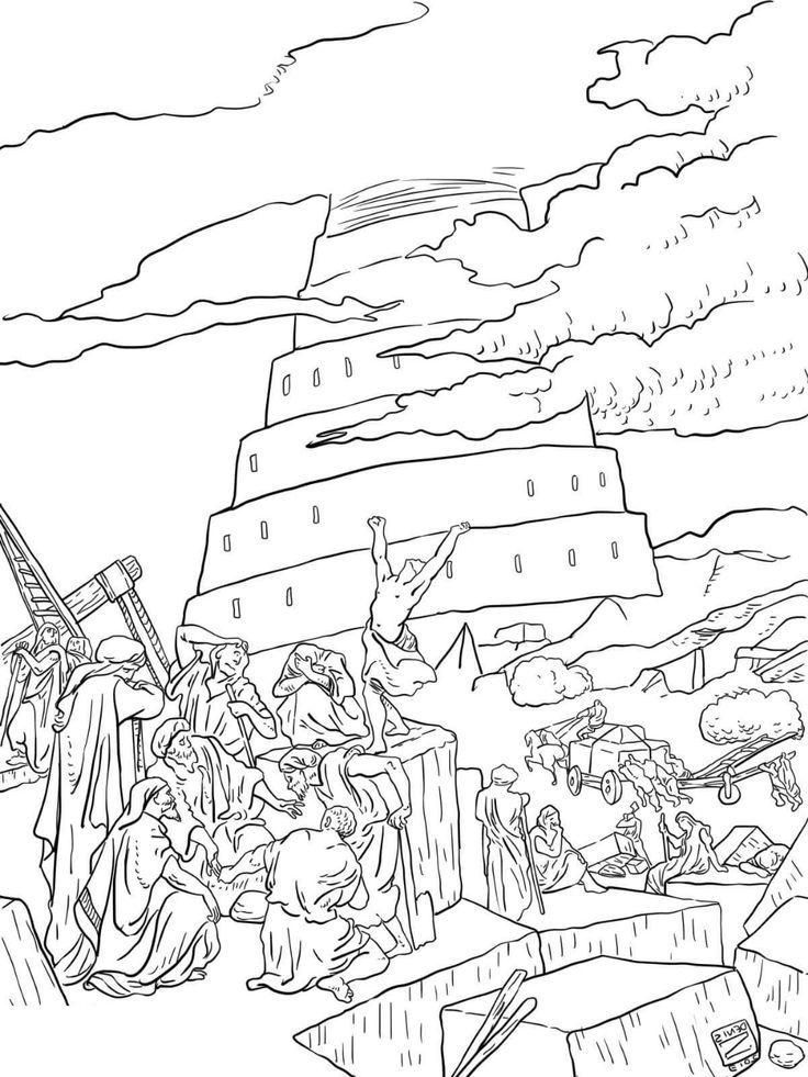 Tower of Babel Coloring Page   Coloring pages, Tower of ...
