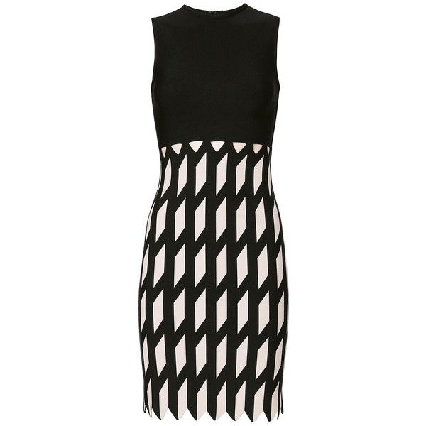 David Koma Women's Zigzag Pattern Knit Dress ($950) via Polyvore featuring dresses, zip dress, black and white sleeveless dress, sleeveless dress, zig zag dresses and black and white dresses