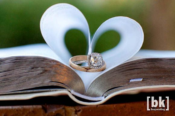 idea for wedding ring photo - place rings between Bible pages in shape of a heart- true love