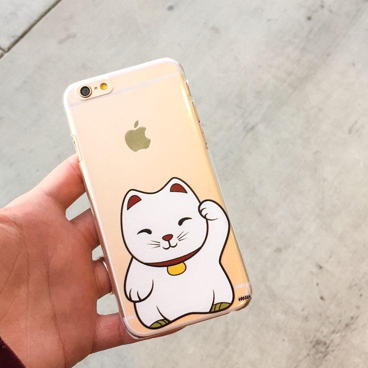 "Clear Plastic Case Cover for iPhone 6Plus (5.5"") Henna Maneki Neko (Lucky Cat)"