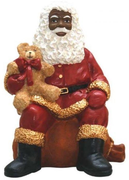 African american christmas santa sitting figurine